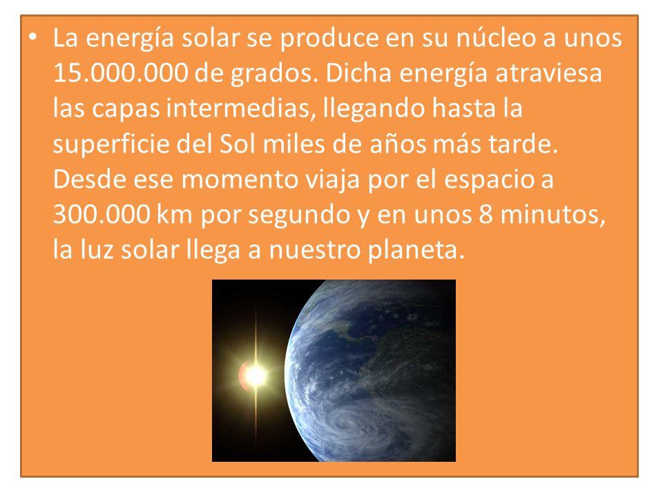 La energía solar se produce en su núcleo a unos 15. 000. 000 de grados