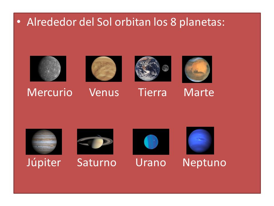 Alrededor del Sol orbitan los 8 planetas: