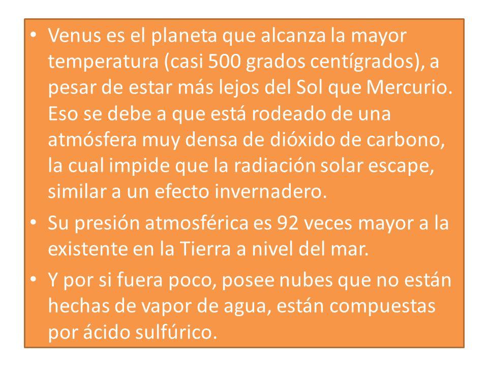 Venus es el planeta que alcanza la mayor temperatura (casi 500 grados centígrados), a pesar de estar más lejos del Sol que Mercurio. Eso se debe a que está rodeado de una atmósfera muy densa de dióxido de carbono, la cual impide que la radiación solar escape, similar a un efecto invernadero.