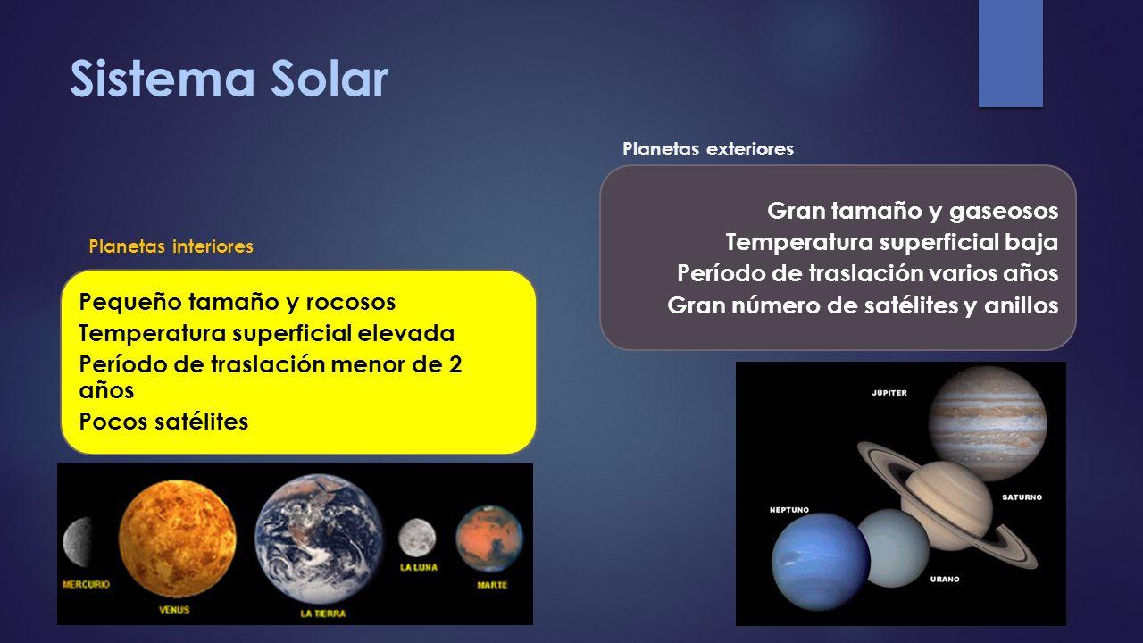 Sistema Solar Gran tamaño y gaseosos Temperatura superficial baja
