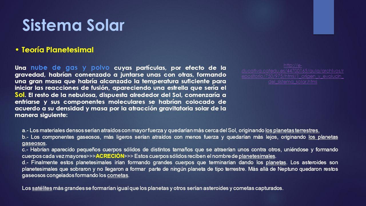 Sistema Solar Teoría Planetesimal
