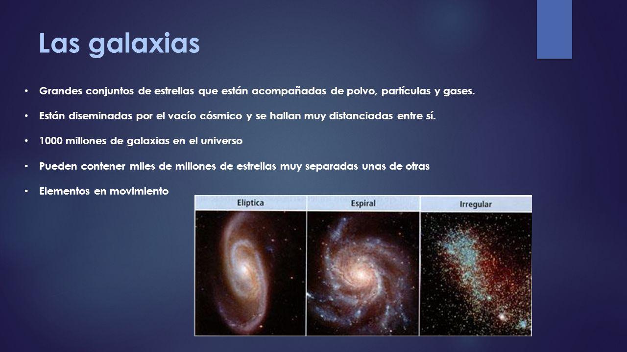 Las galaxias Grandes conjuntos de estrellas que están acompañadas de polvo, partículas y gases.