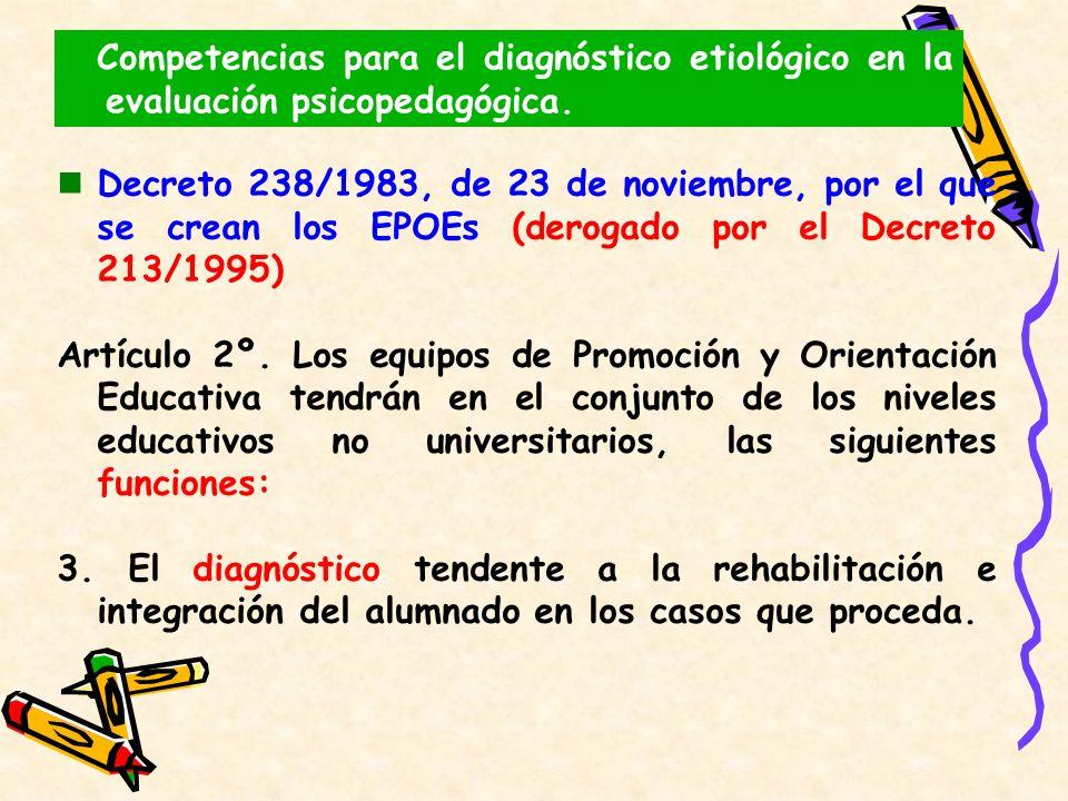 Competencias para el diagnóstico etiológico en la evaluación psicopedagógica.