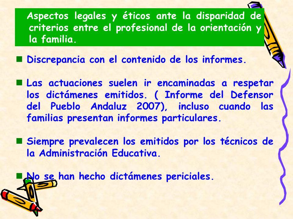 Aspectos legales y éticos ante la disparidad de criterios entre el profesional de la orientación y la familia.