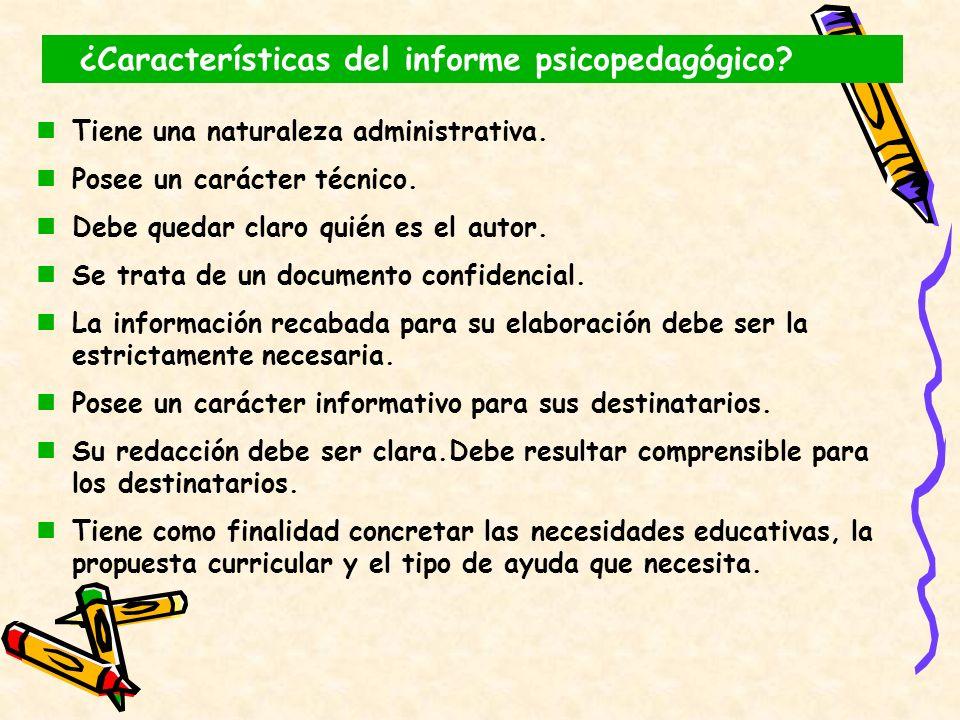 ¿Características del informe psicopedagógico