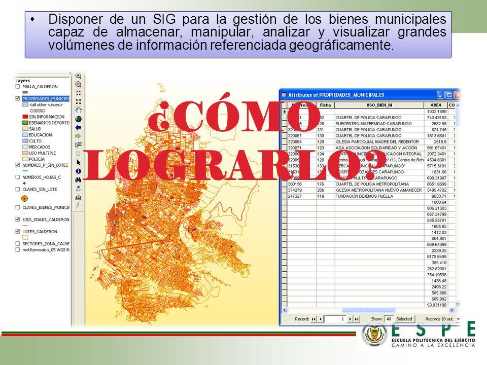 Disponer de un SIG para la gestión de los bienes municipales capaz de almacenar, manipular, analizar y visualizar grandes volúmenes de información referenciada geográficamente.