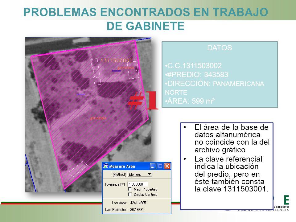 PROBLEMAS ENCONTRADOS EN TRABAJO DE GABINETE