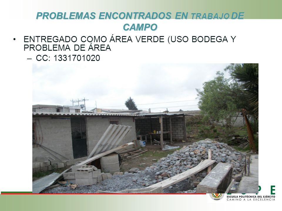 PROBLEMAS ENCONTRADOS EN TRABAJO DE CAMPO