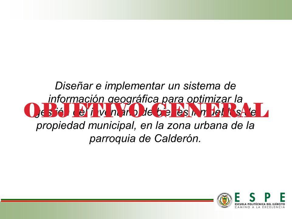 Diseñar e implementar un sistema de información geográfica para optimizar la gestión del inventario de bienes inmuebles de propiedad municipal, en la zona urbana de la parroquia de Calderón.