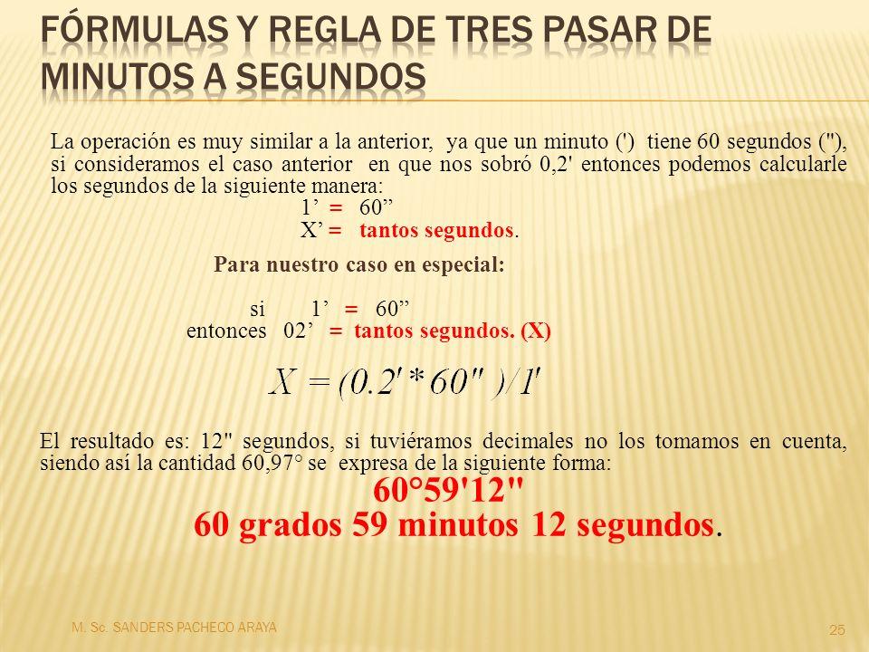 Fórmulas y regla de tres pasar de minutos a segundos