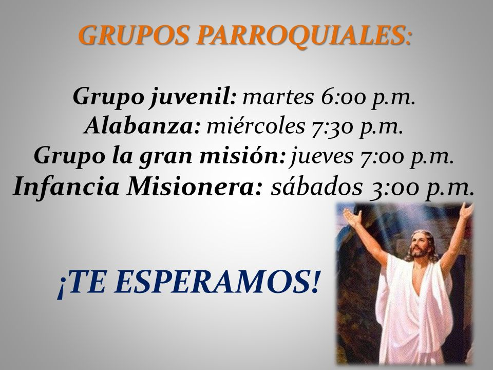 Infancia Misionera: sábados 3:00 p.m.