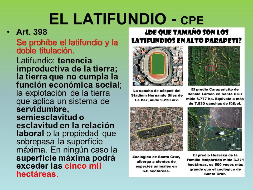 EL LATIFUNDIO - CPE Art. 398. Se prohíbe el latifundio y la doble titulación.