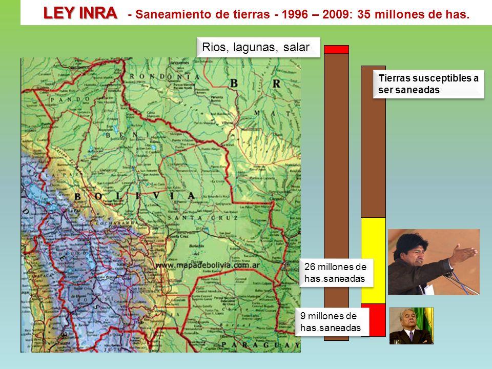 LEY INRA - Saneamiento de tierras - 1996 – 2009: 35 millones de has.