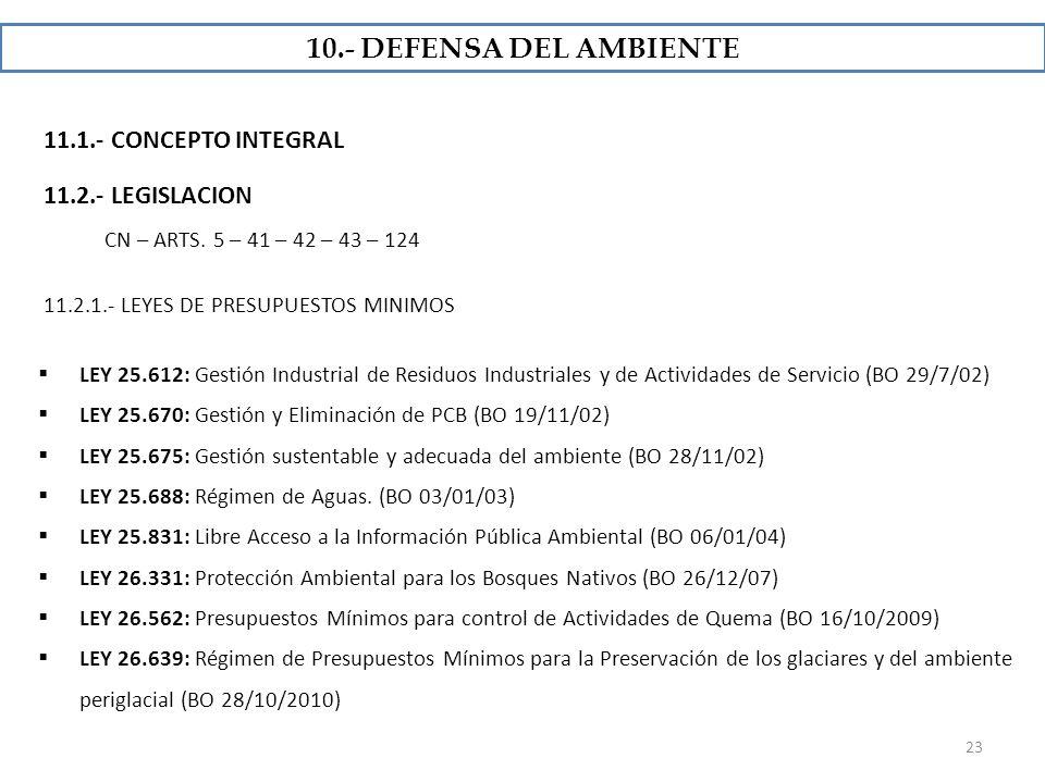 10.- DEFENSA DEL AMBIENTE 11.1.- CONCEPTO INTEGRAL 11.2.- LEGISLACION