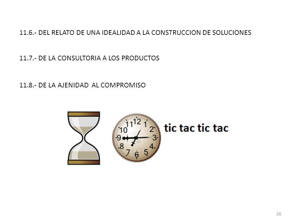 11.6.- DEL RELATO DE UNA IDEALIDAD A LA CONSTRUCCION DE SOLUCIONES