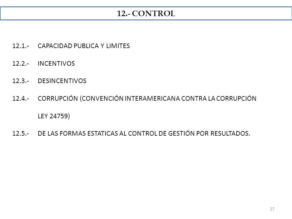 12.- CONTROL 12.1.- CAPACIDAD PUBLICA Y LIMITES 12.2.- INCENTIVOS