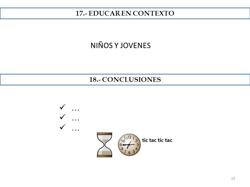 17.- EDUCAR EN CONTEXTO NIÑOS Y JOVENES 18.- CONCLUSIONES …