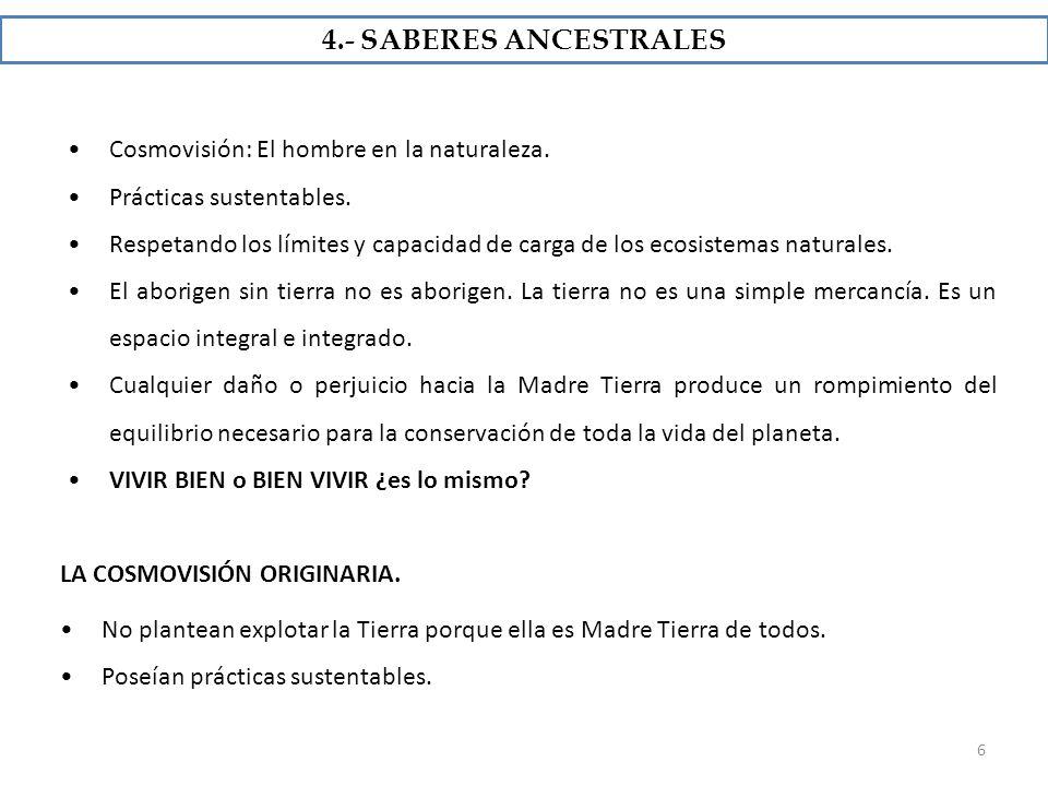4.- SABERES ANCESTRALES Cosmovisión: El hombre en la naturaleza.