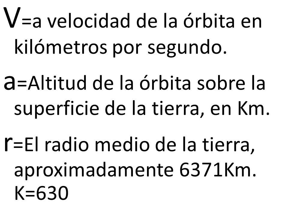V=a velocidad de la órbita en kilómetros por segundo.