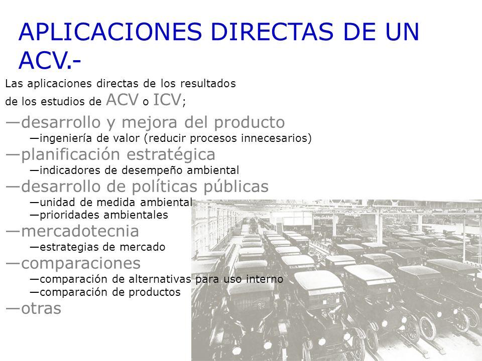 APLICACIONES DIRECTAS DE UN ACV.-