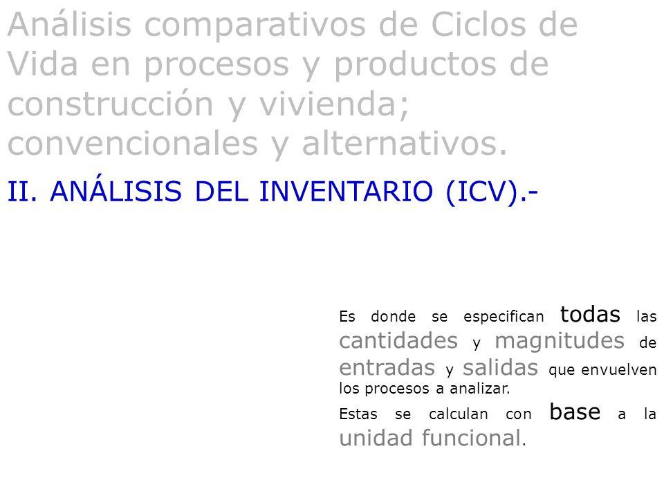 Análisis comparativos de Ciclos de Vida en procesos y productos de construcción y vivienda; convencionales y alternativos.
