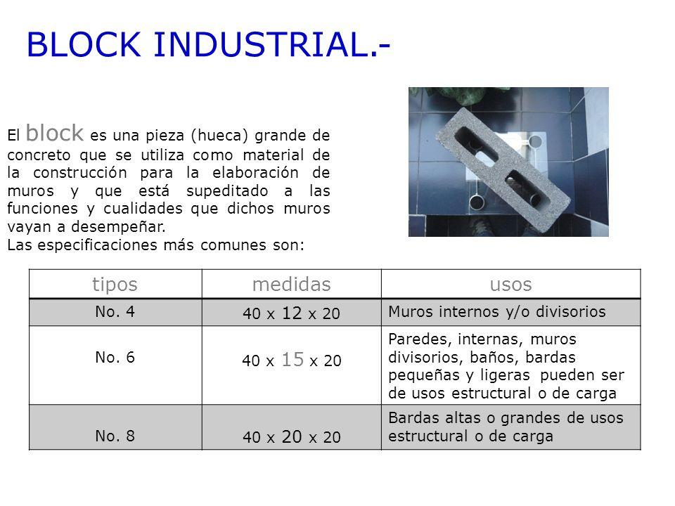 BLOCK INDUSTRIAL.- tipos medidas usos