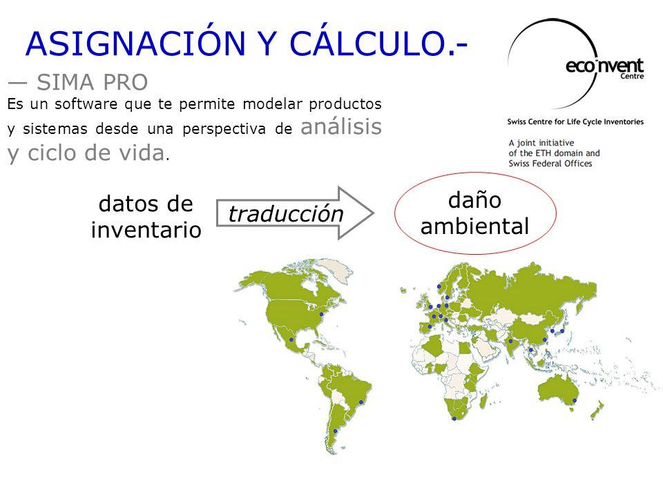 ASIGNACIÓN Y CÁLCULO.- SIMA PRO daño ambiental datos de inventario