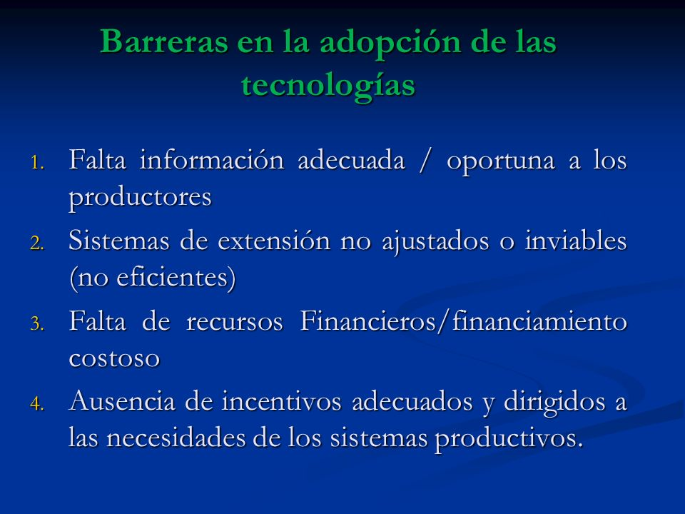 Barreras en la adopción de las tecnologías