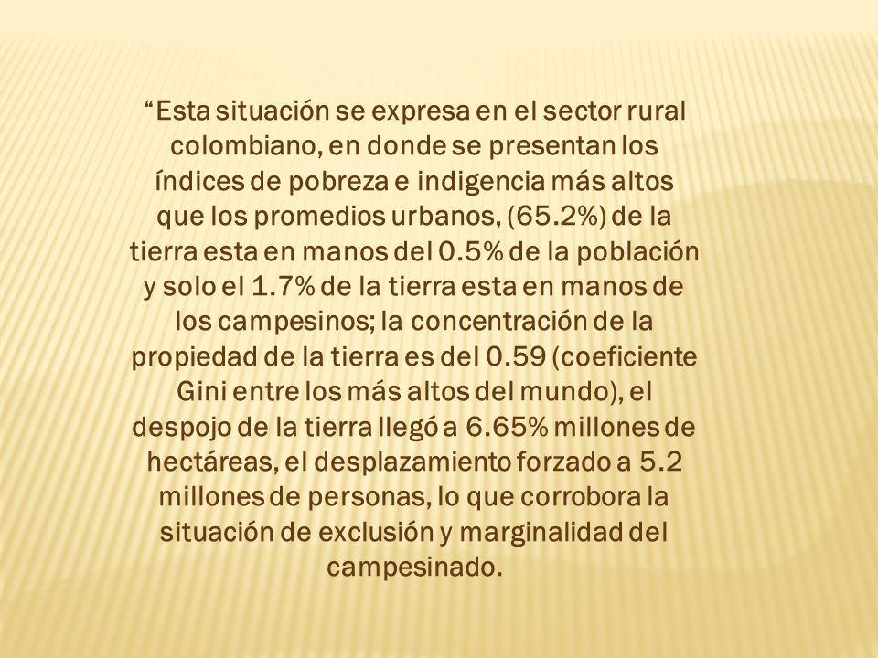 Esta situación se expresa en el sector rural colombiano, en donde se presentan los índices de pobreza e indigencia más altos que los promedios urbanos, (65.2%) de la tierra esta en manos del 0.5% de la población y solo el 1.7% de la tierra esta en manos de los campesinos; la concentración de la propiedad de la tierra es del 0.59 (coeficiente Gini entre los más altos del mundo), el despojo de la tierra llegó a 6.65% millones de hectáreas, el desplazamiento forzado a 5.2 millones de personas, lo que corrobora la situación de exclusión y marginalidad del campesinado.