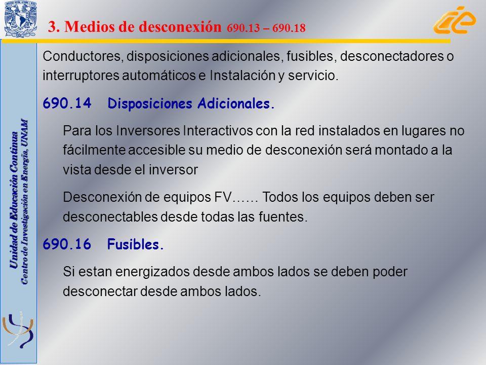 3. Medios de desconexión 690.13 – 690.18