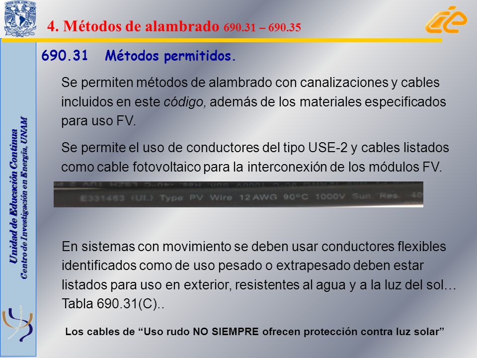 4. Métodos de alambrado 690.31 – 690.35 690.31 Métodos permitidos.
