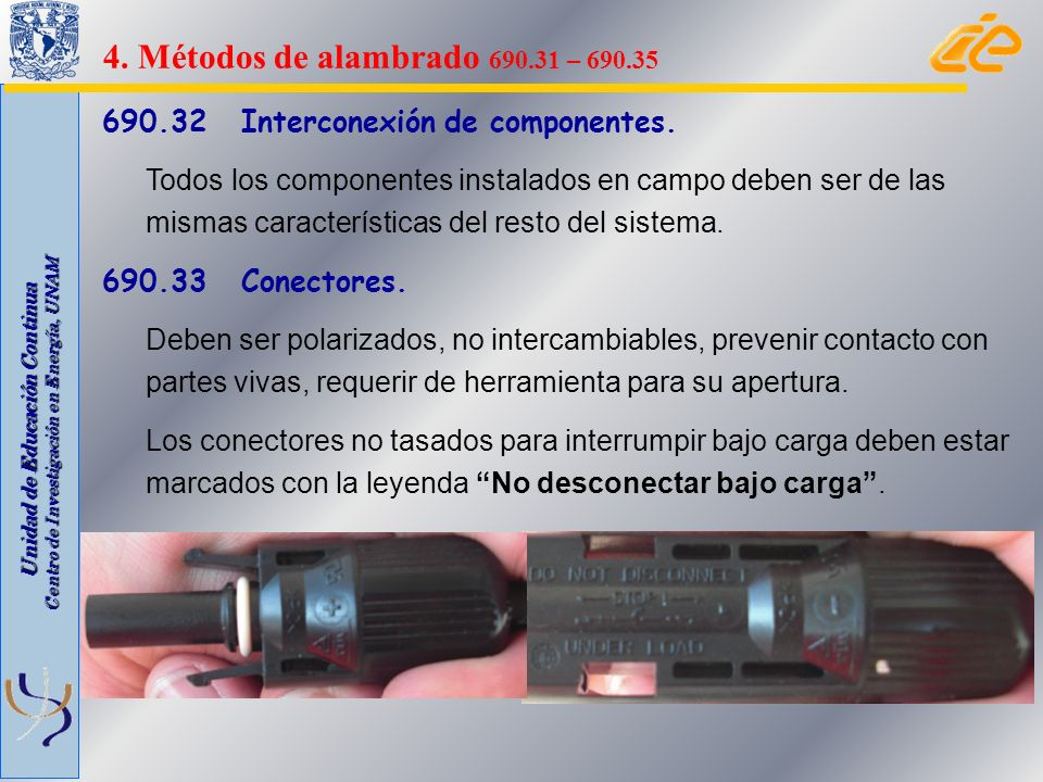 4. Métodos de alambrado 690.31 – 690.35 690.32 Interconexión de componentes.