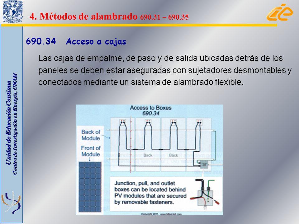 4. Métodos de alambrado 690.31 – 690.35 690.34 Acceso a cajas