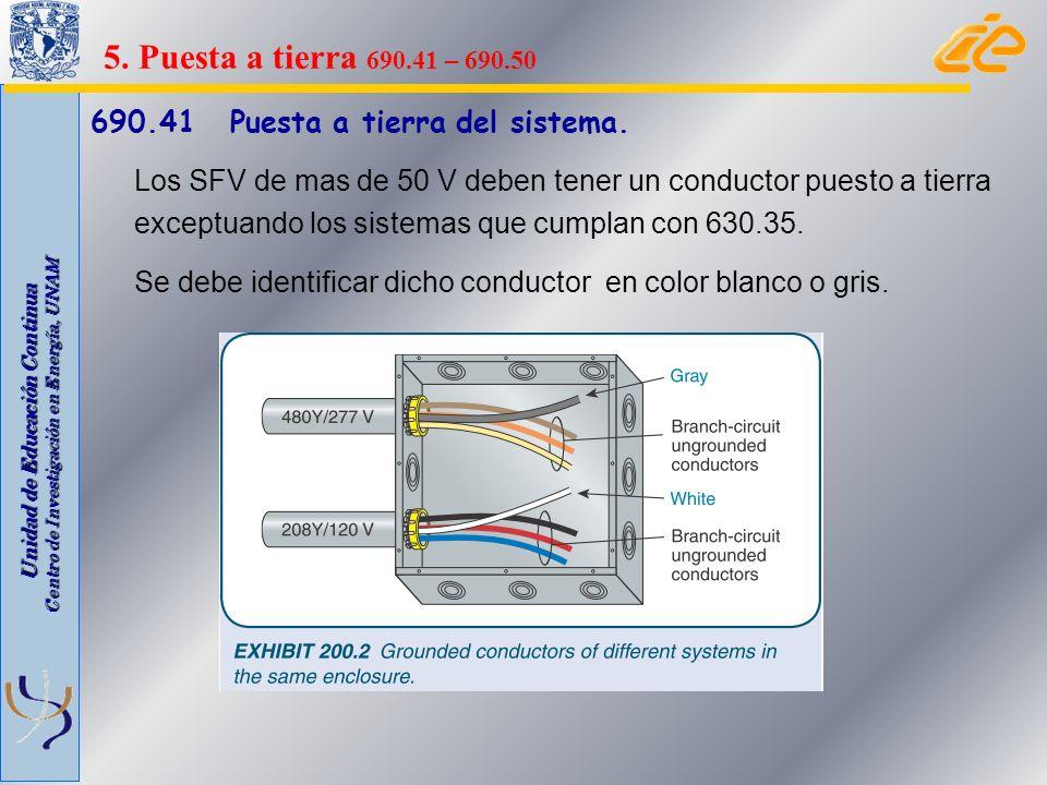 5. Puesta a tierra 690.41 – 690.50 690.41 Puesta a tierra del sistema.