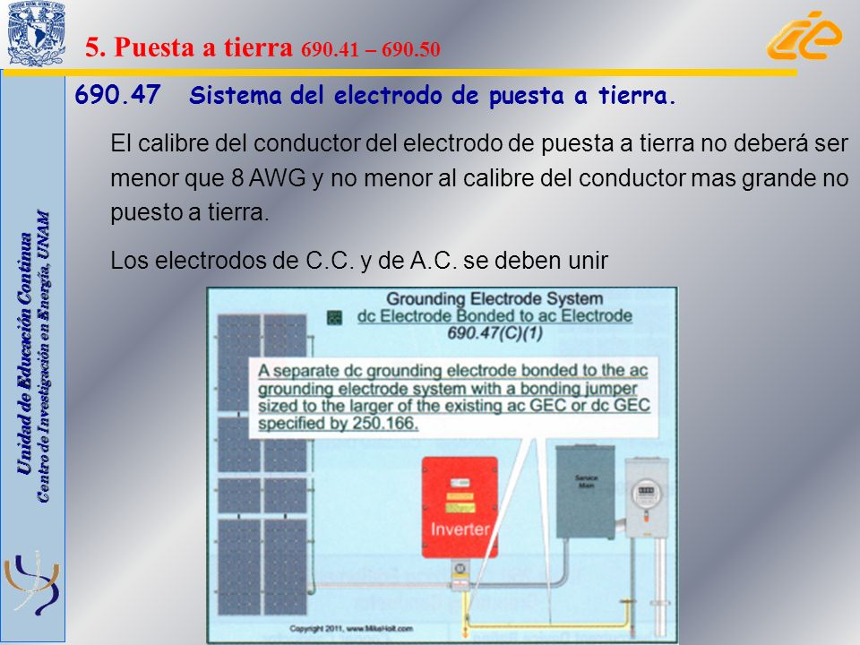 5. Puesta a tierra 690.41 – 690.50 690.47 Sistema del electrodo de puesta a tierra.
