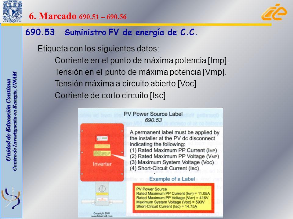 6. Marcado 690.51 – 690.56 690.53 Suministro FV de energía de C.C.