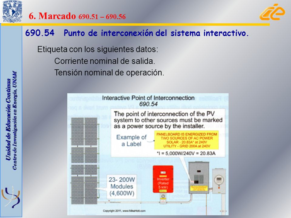 6. Marcado 690.51 – 690.56 690.54 Punto de interconexión del sistema interactivo. Etiqueta con los siguientes datos: