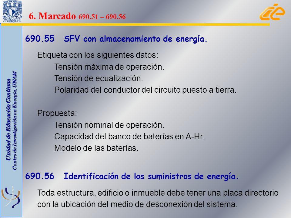 6. Marcado 690.51 – 690.56 690.55 SFV con almacenamiento de energía.