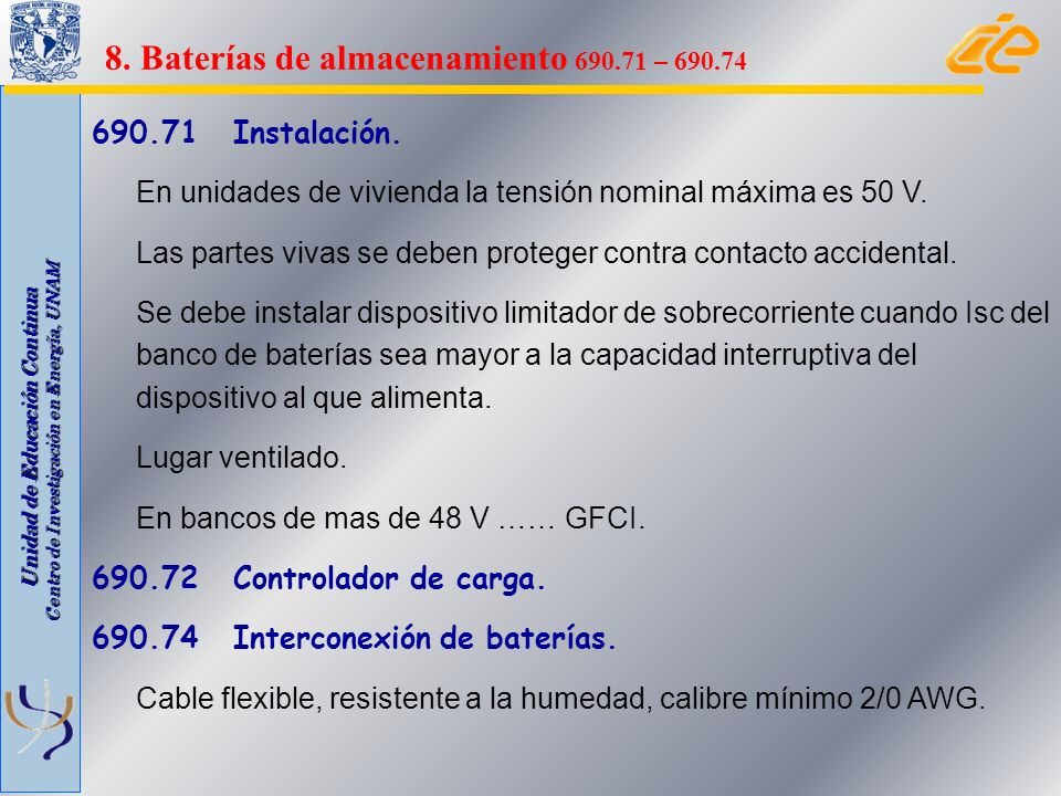 8. Baterías de almacenamiento 690.71 – 690.74