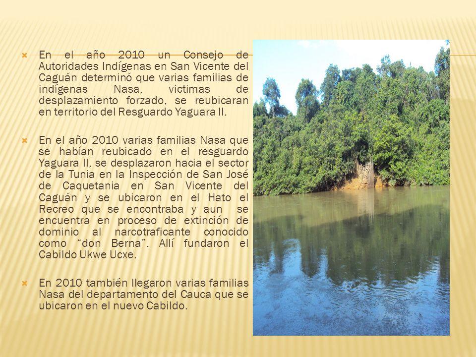 En el año 2010 un Consejo de Autoridades Indígenas en San Vicente del Caguán determinó que varias familias de indígenas Nasa, victimas de desplazamiento forzado, se reubicaran en territorio del Resguardo Yaguara II.