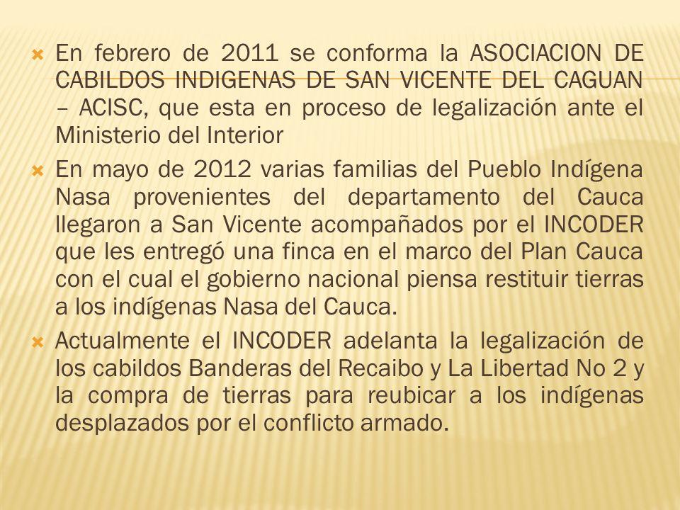 En febrero de 2011 se conforma la ASOCIACION DE CABILDOS INDIGENAS DE SAN VICENTE DEL CAGUAN – ACISC, que esta en proceso de legalización ante el Ministerio del Interior