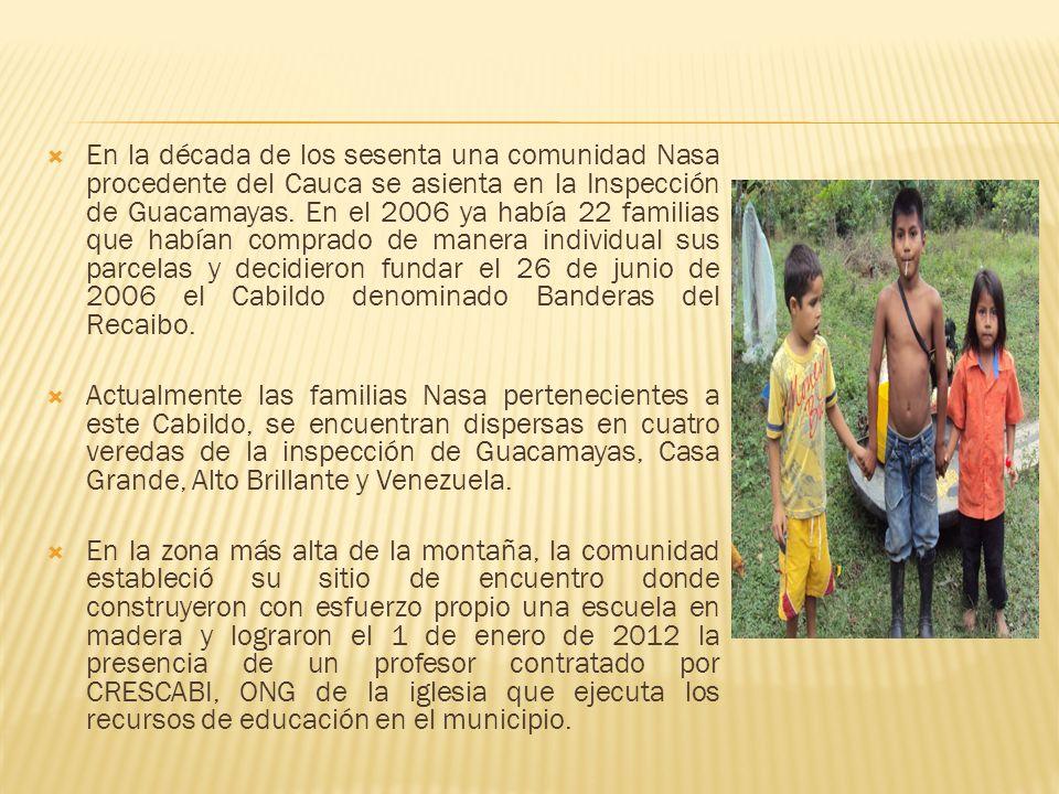 En la década de los sesenta una comunidad Nasa procedente del Cauca se asienta en la Inspección de Guacamayas. En el 2006 ya había 22 familias que habían comprado de manera individual sus parcelas y decidieron fundar el 26 de junio de 2006 el Cabildo denominado Banderas del Recaibo.