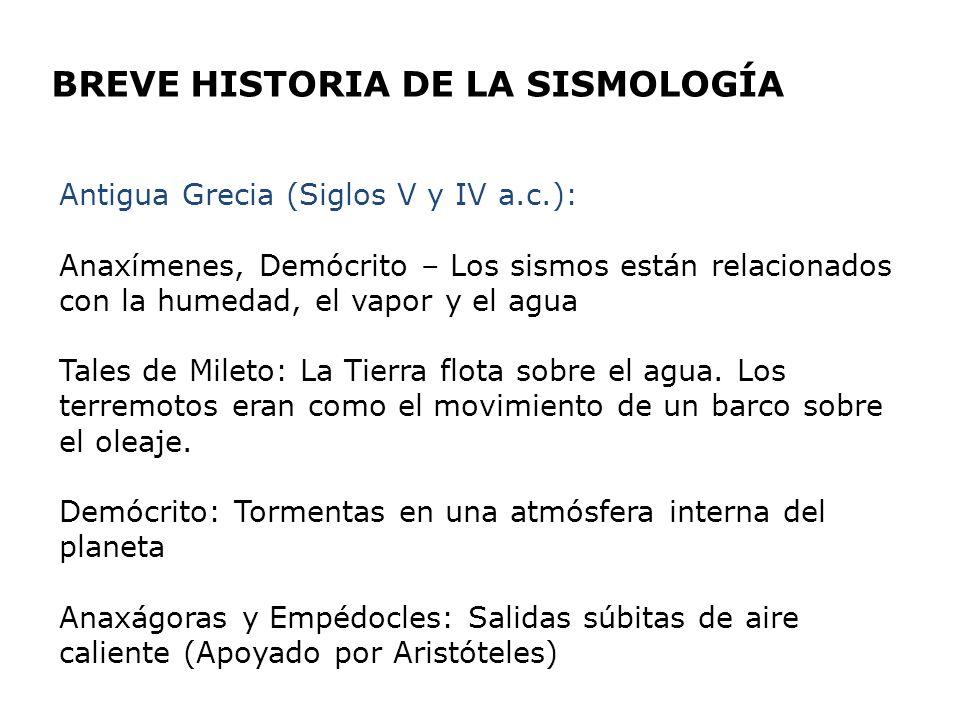 BREVE HISTORIA DE LA SISMOLOGÍA