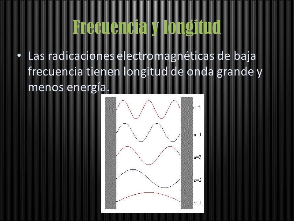 Frecuencia y longitud Las radicaciones electromagnéticas de baja frecuencia tienen longitud de onda grande y menos energía.
