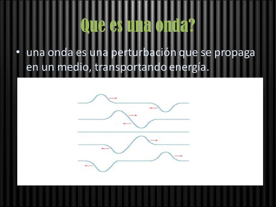 Que es una onda una onda es una perturbación que se propaga en un medio, transportando energía.