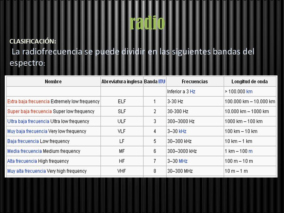 radio CLASIFICACIÓN: La radiofrecuencia se puede dividir en las siguientes bandas del espectro: