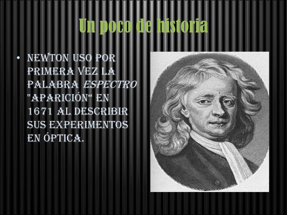 Un poco de historia Newton uso por primera vez la palabra espectro aparición en 1671 al describir sus experimentos en óptica.