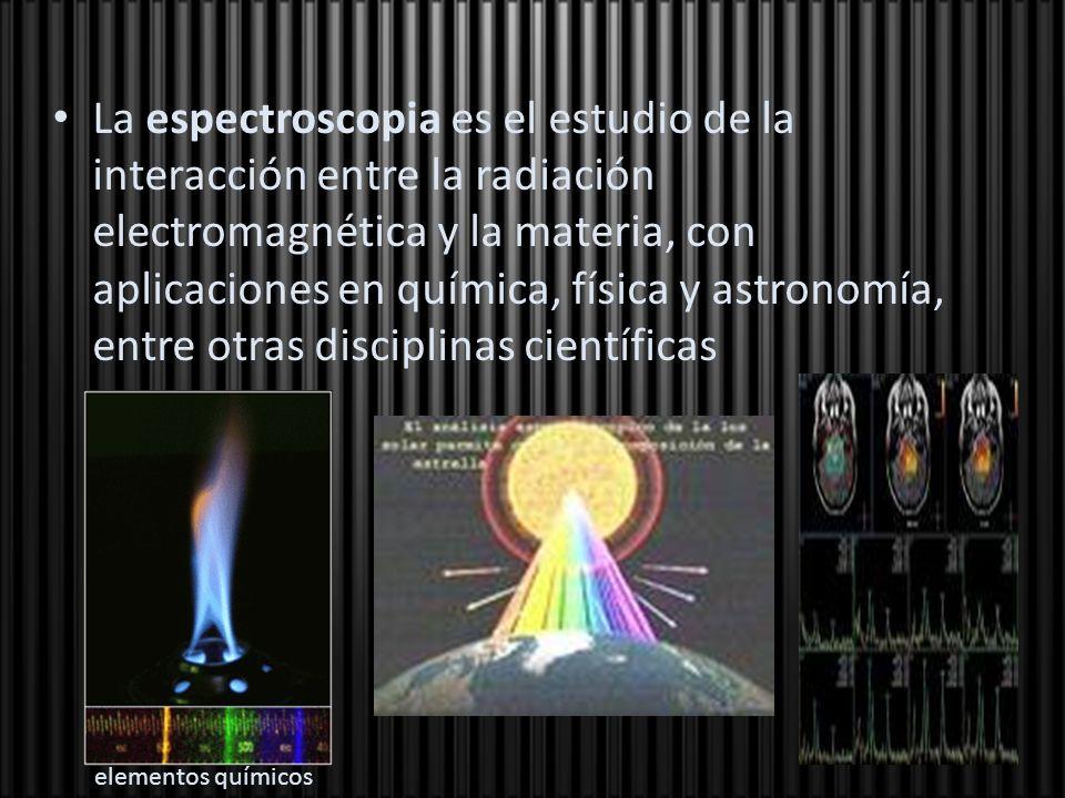 La espectroscopia es el estudio de la interacción entre la radiación electromagnética y la materia, con aplicaciones en química, física y astronomía, entre otras disciplinas científicas
