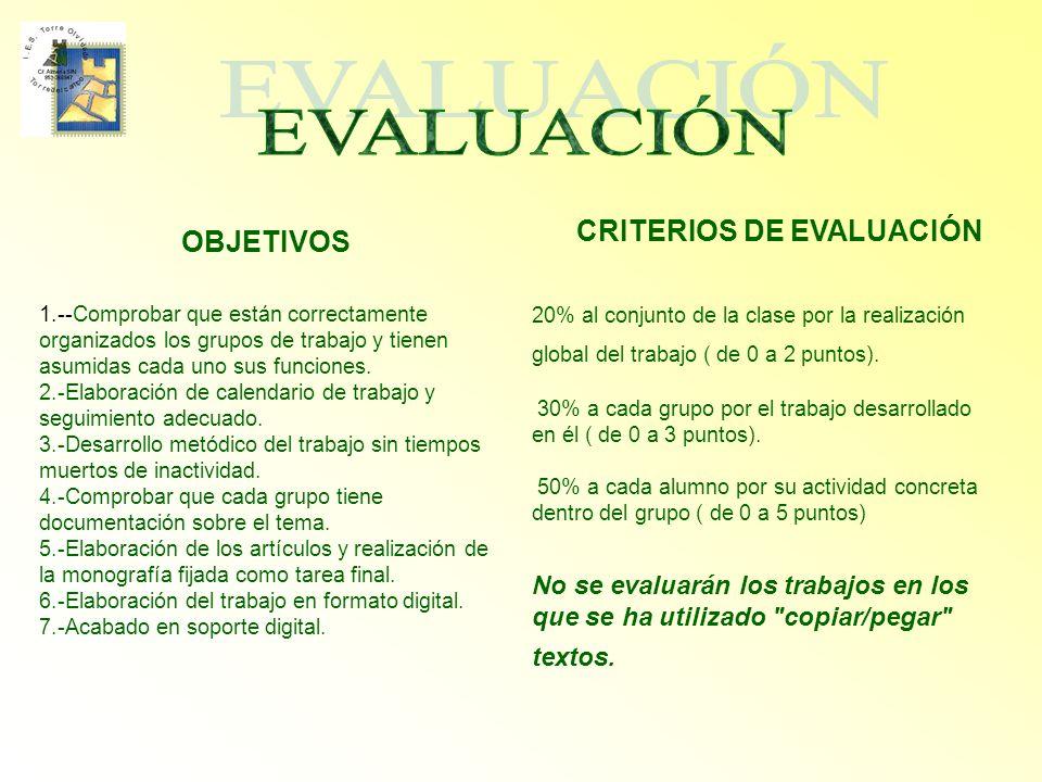 EVALUACIÓN CRITERIOS DE EVALUACIÓN