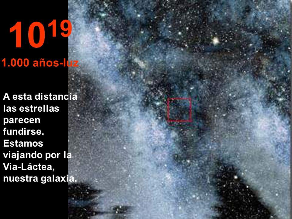 1019 1.000 años-luz. A esta distancia las estrellas parecen fundirse.